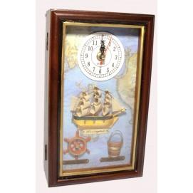 """Ключница с часами """"Морская"""" коричневая 29208"""