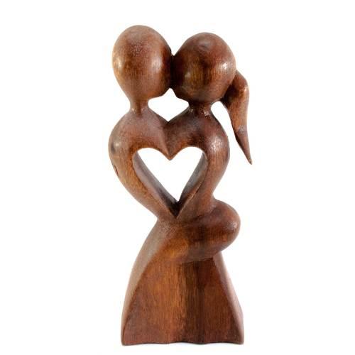 """Статуэтка """"Влюбленные"""" дерево коричневая 30173"""