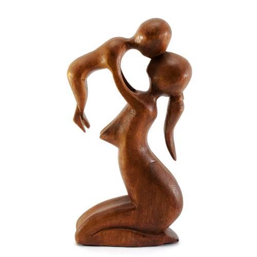 """Статуэтка """"Мама с ребенком"""" дерево коричневая 30171"""