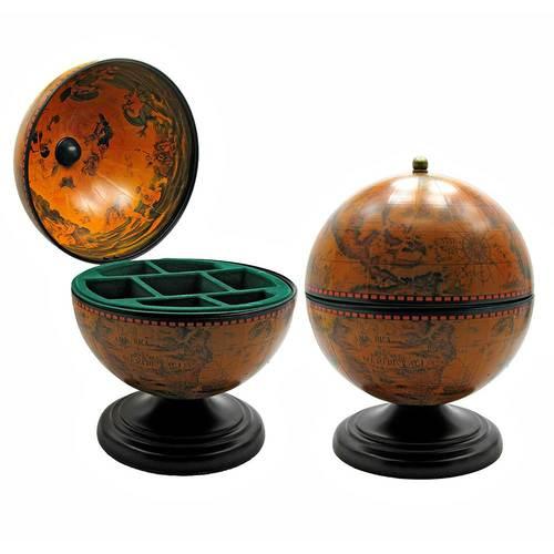 Глобус бар шкатулка высота внутри 16 см (22х22х28 см) коричневый