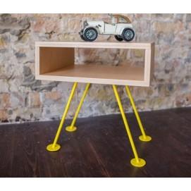 Тумба прикроватная H106 натуральная ноги желтые Craftmart