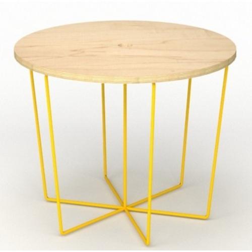 Стол журнальный C101 натуральный ноги желтые Craftmart