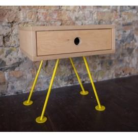Тумба прикроватная H101 натуральная ноги желтые Craftmart