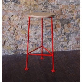 Табурет барный E106 натуральный ноги красные Craftmart