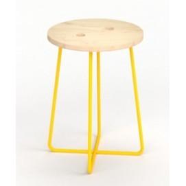 Табурет E103 натуральный ноги желтые Craftmart