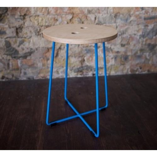 Табурет E103 натуральный ноги голубые Craftmart
