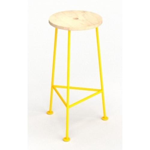 Табурет барный E106 натуральный ноги желтые Craftmart