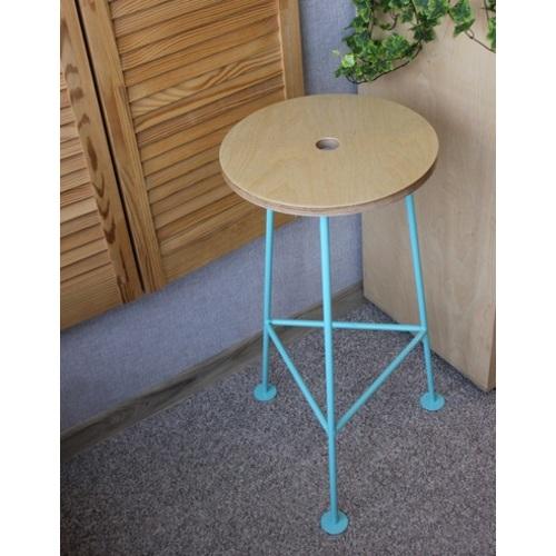 Табурет барный E106 натуральный ноги голубые Craftmart