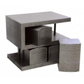 Комплект S-образный стол, 4 стула, коричневый 60см KA-R03 De torre