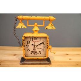 Часы настольные Телефон желтые Clock