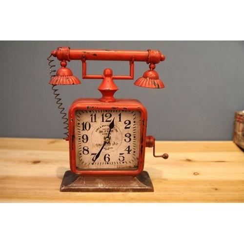 Часы настольные Телефон красные Clock