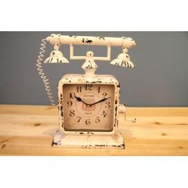 Часы настольные Телефон белые Clock