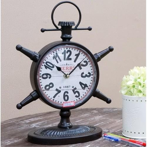 Часы настольные Штурвал черные Clock