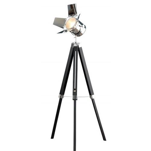 Лампа напольная Hollywood 95-140cm черная+хром 36845 Invicta