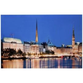 Картина Hamburg Binnenalster 50x70cm Glas/ 30114 синяя Invicta