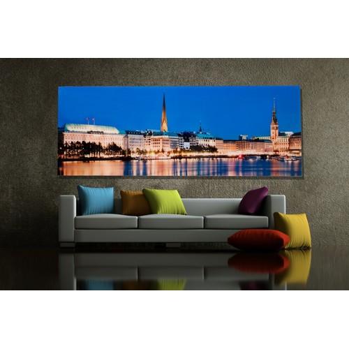 Картина Hamburg Binnenalster 45x100cm Glas/ 30111 синяя Invicta