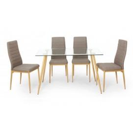 Набор стол +4 стула Nino прозрачный+натуральный Signal