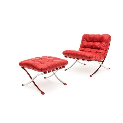 Кресло с пуфом LEONARDO PIAZZA красный кожа Lareto