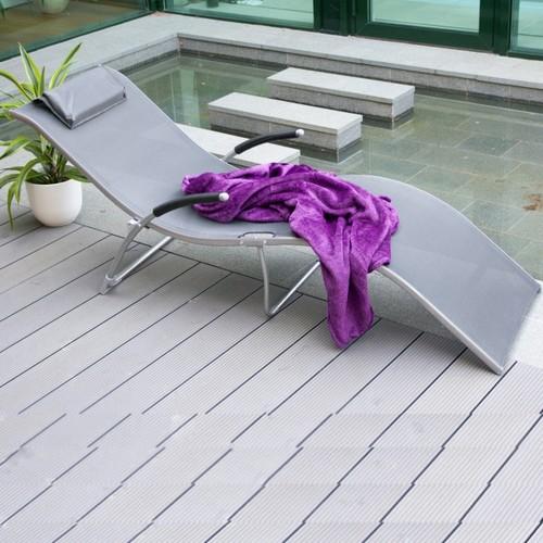 Шезлонг складной из текстилена Batya 10032 серый Garden4You
