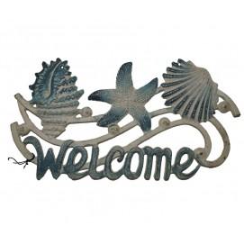 Декоративная чугунная табличка WELCOME - Ракушки GC002