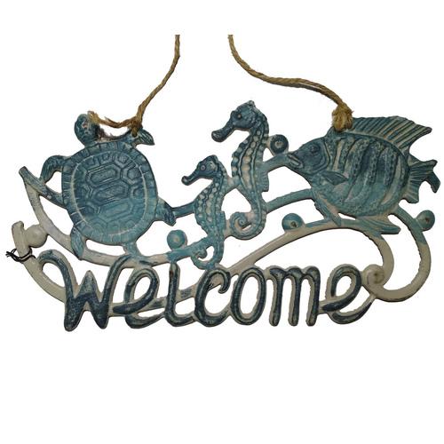 Декоративная чугунная табличка WELCOME - Морской конек GC003