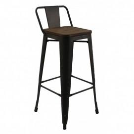 Кресло полубарное Tolix MC-011К графит+дерево Primel 2018