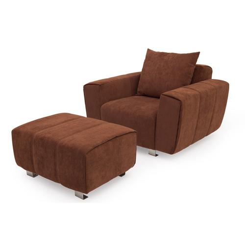 Комплект мебели кресло и пуфик DARIO Lareto коричневый