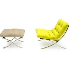 Комплект мебели кресло и пуфик LEONARDO ROMBO Lareto зеленый