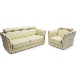 Комплект мебели диван и кресло-реклайнер PATRICIA Lareto белый