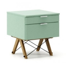 Тумба на 2 ящика KIDS basic зеленая mint ноги коричневые Minko