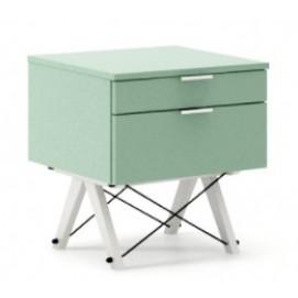 Тумба на 2 ящика KIDS basic зеленая mint ноги белые Minko