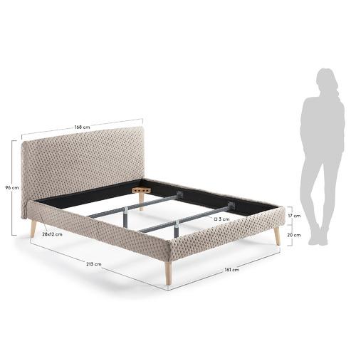 Кровать D038MO12 - LYDIA 150x190 cm бежевая Laforma 2018