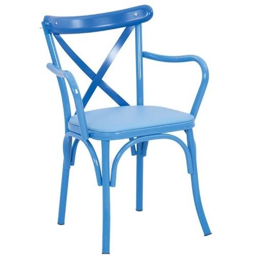 Кресло TONET METAL ARMS / TNT04 голубое Caris