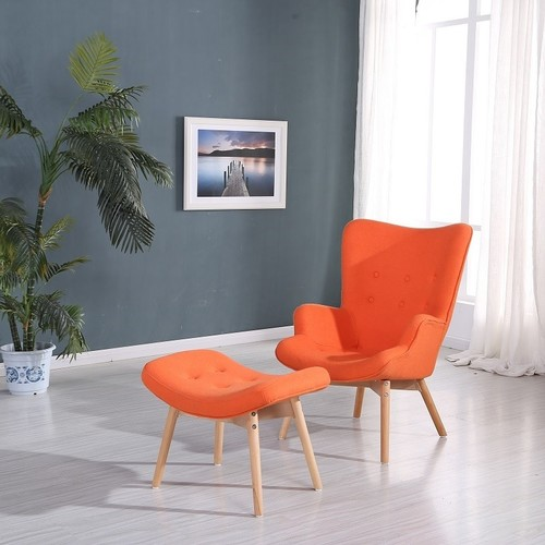 Кресло Флорино с табуреткой оранжевое Mebelmodern