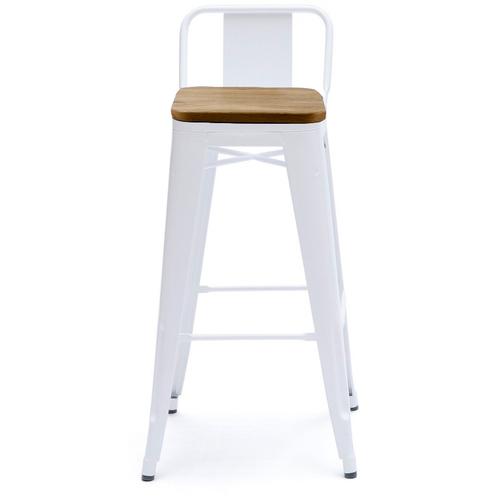 Кресло полубарное Tolix MC-011К белый+дерево Primel