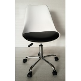 Стул офисный HY128-R белый пластик+черный кожзам Primel