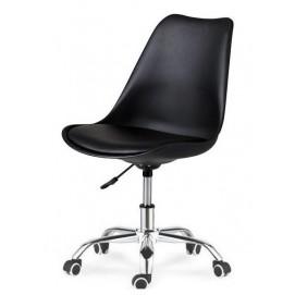 Стул офисный HY128-R черный пластик+черный кожзам Primel