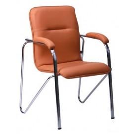 Кресло офисное без канта Самба хром светло-коричневое 015698 Famm 2018