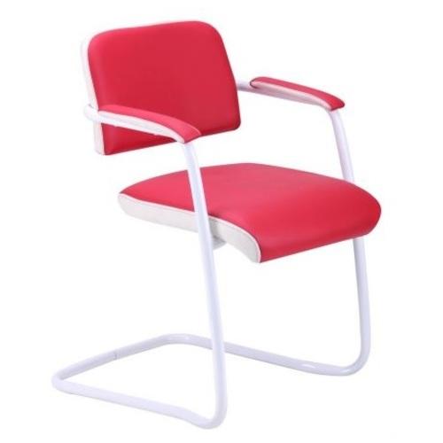 Кресло офисное Гранд белый лак обивка красная 055418 Famm 2018