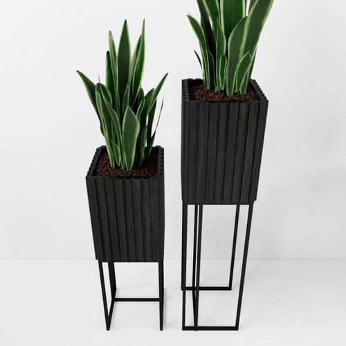 Кашпо для цветов черное D0103AS Esense
