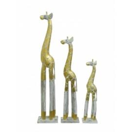 Статуетка  Набор белых жирафов с золотистым узором (фа-ж-86, ж-87, ж-88)