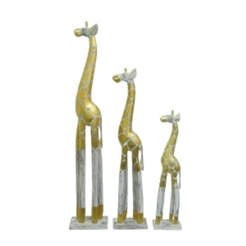 Набор белых жирафов с золотистым узором (ж-86, ж-87, ж-88)