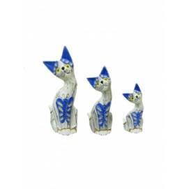Набор из 3 котиков белых с голубым (кн-68, кн-69, кн-70)
