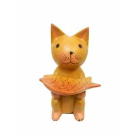 Котик держит рыбку как поднос (кн-120)