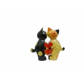 """Статуэтка Два котика/зайчика держат сердце - """"Я тебя люблю"""" (набор), 4 вида (кн-30)"""
