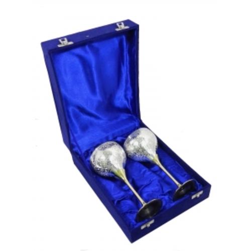 Набор фужеров для шампанского в синей коробке на 2 персоны, 2 вида (фа-нр-75)