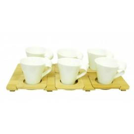 Набор чашек для кофе с бамбуковыми подстаканниками и подносом, на 6 персон (нп-09)