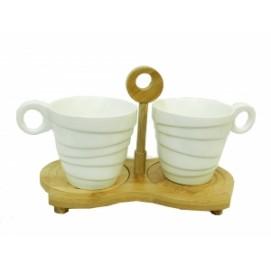 Набор чашек на 2 персоны с бамбуковыми подстаканниками (нп-10)