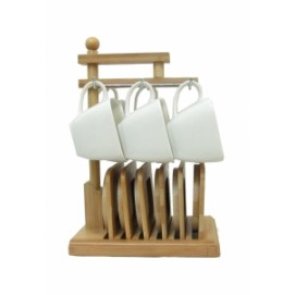 Набор чашек для чая с бамбуковыми подстаканниками на 6 персон (фа-нп-13)