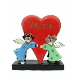 Статуэтка Два котика-ангела держат сердце - салфетница (кн-128)